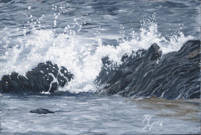 Painting Waves Crashing Acrylics